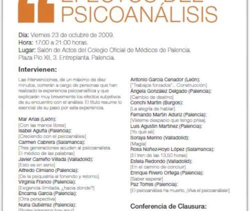 XIII JORNADA DE PSICOANÁLISIS DE CASTILLA Y LEÓN – EFECTOS DEL PSICOANÁLISIS